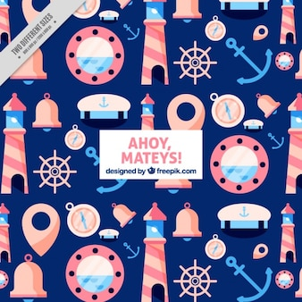 Blauwe achtergrond met kleurrijke nautische artikelen