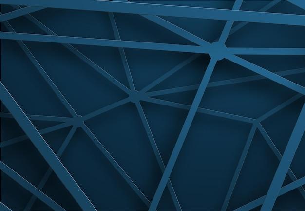 Blauwe achtergrond met lijnen net in de lucht op verschillende hoogtes.
