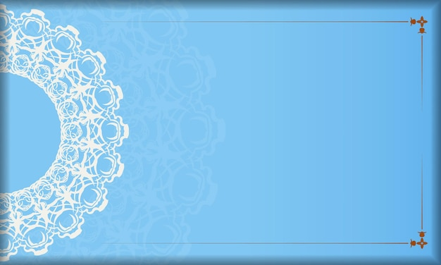 Blauwe achtergrond met luxe wit patroon en ruimte voor tekst