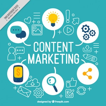 Blauwe achtergrond met marketing elementen