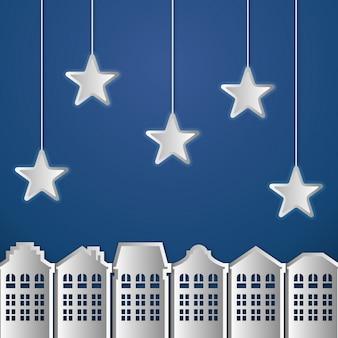 Blauwe achtergrond met papierstad en sterren