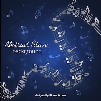 Blauwe achtergrond met pentagram en muzieknoten