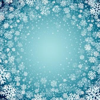 Blauwe achtergrond met sneeuwvlokken