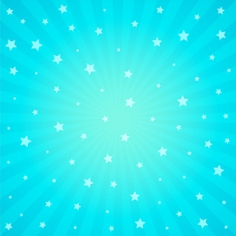 Blauwe achtergrond met ster en stralen