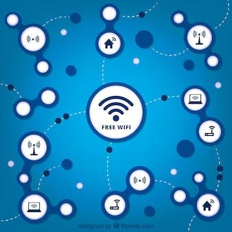 Blauwe achtergrond met verscheidenheid aan wifi signalen