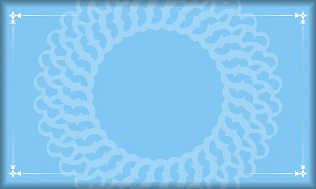 Blauwe achtergrond met vintage witte ornamenten en plaats voor logo of tekst