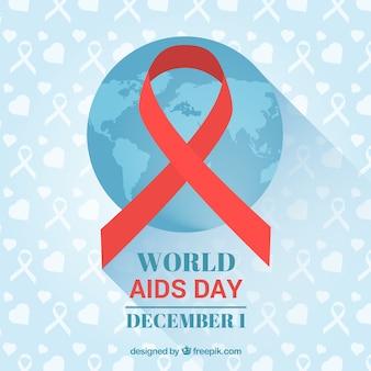 Blauwe achtergrond met wereld kaart en rode lint voor aids dag