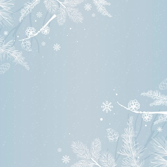 Blauwe achtergrond met winterdecoratie