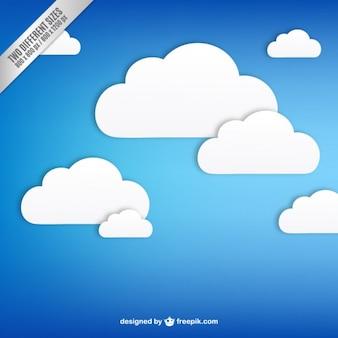 Blauwe achtergrond met witte wolken