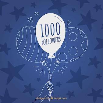 Blauwe achtergrond van ballon sterren van hand getekende 1k volgers