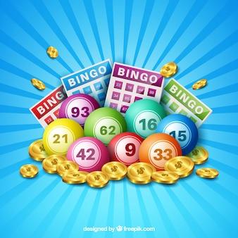Blauwe achtergrond van bingo ballen met munten