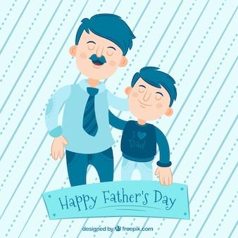 Blauwe achtergrond van de man met zijn zoon voor vaderdag