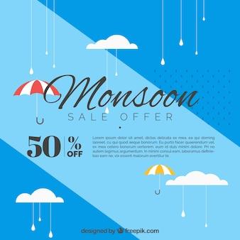 Blauwe achtergrond van de verkoop van moesson met paraplu in platte vormgeving