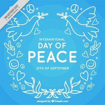 Blauwe achtergrond van de vrede dag tekeningen