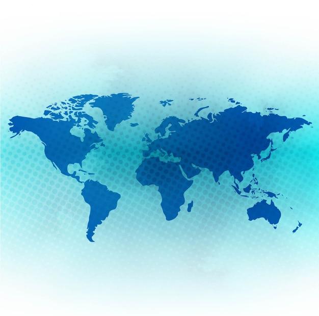 Blauwe achtergrond van de wereldkaart