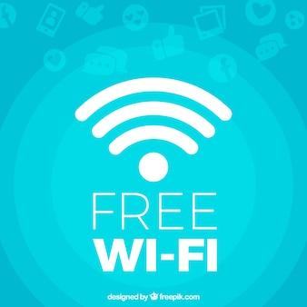 Blauwe achtergrond van gratis wifi