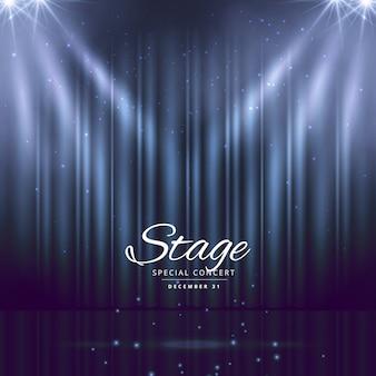 Blauwe achtergrond van het toneel met gesloten gordijnen