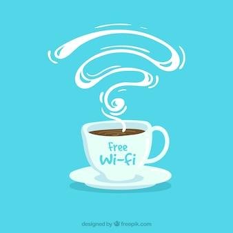 Blauwe achtergrond van koffiezetapparaat met gratis wifi