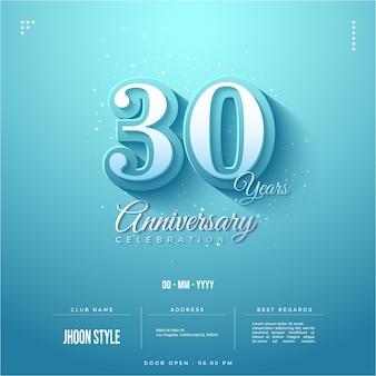 Blauwe achtergrondeditie voor uitnodiging voor 30-jarig jubileum