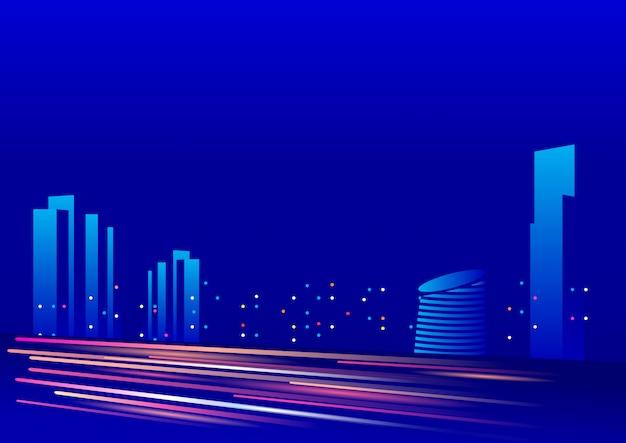 Blauwe achtergrondnachthemel met de bouw van verlichting
