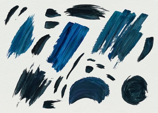 Blauwe acrylverf penseelstreken