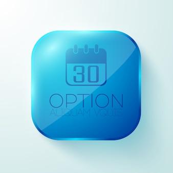 Blauwe afgeronde vierkante knop met kalender