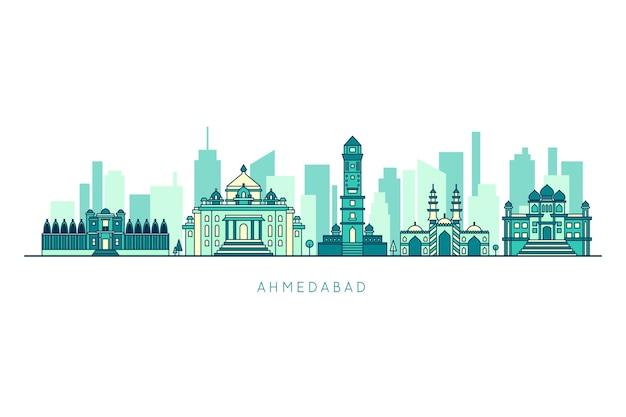 Blauwe ahmedabad skyline met gebouwen