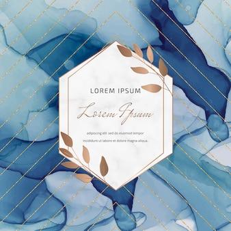 Blauwe alcohol inkt banner met geometrische marmeren frames en bladeren, gouden glitter lijnen.