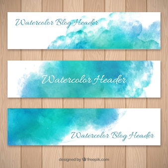 Blauwe aquarel abstract blog headers