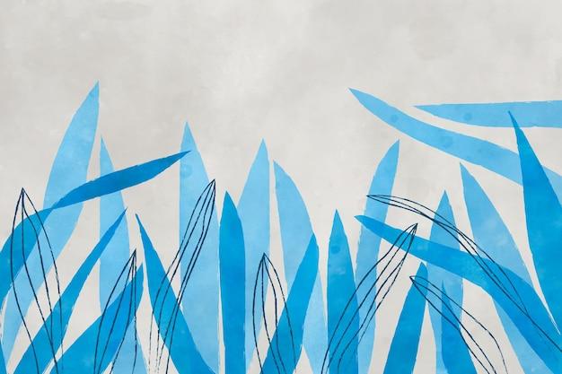 Blauwe aquarel achtergrond met bladeren
