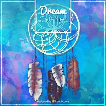 Blauwe aquarel achtergrond met dreamcatcher