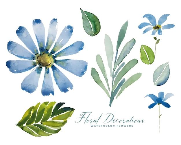 Blauwe aquarel bloem bloemendecoratie pack Gratis Vector