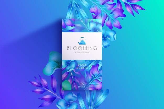 Blauwe aquarel bloemen behang