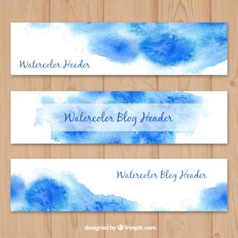 Blauwe aquarel blog headers