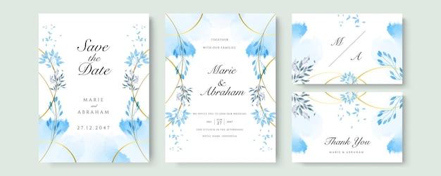 Blauwe aquarel bruiloft uitnodiging kaartsjabloon set met gouden glitter en lijndecoratie. abstracte achtergrond bewaar de datum, uitnodiging, wenskaart, multifunctionele vector