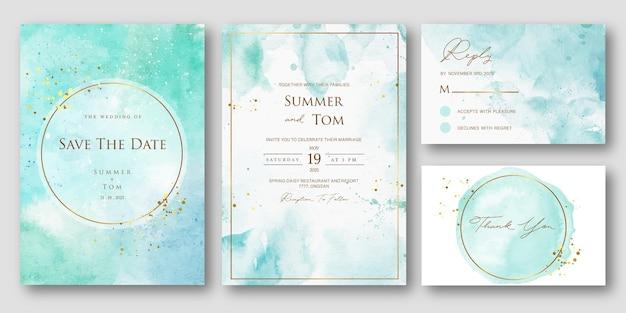 Blauwe aquarel bruiloft uitnodiging set