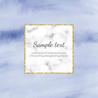 Blauwe aquarel folie achtergrond met marmer, gouden glitter lijnkader.