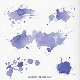 Blauwe aquarel spatten
