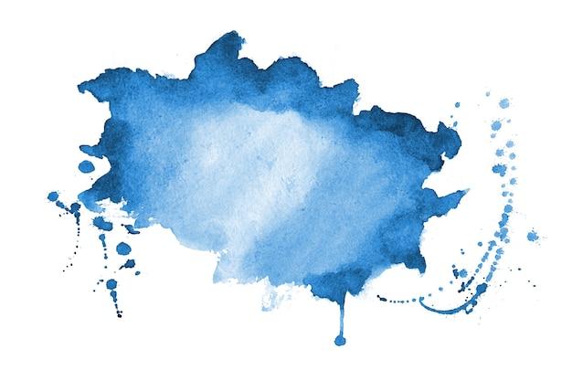 Blauwe aquarel splatter textuur vlek achtergrondontwerp
