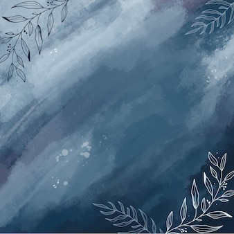 Blauwe aquarel verlaat achtergrond