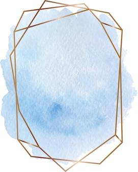 Blauwe aquarel vorm met gouden geometrische lijnen frame
