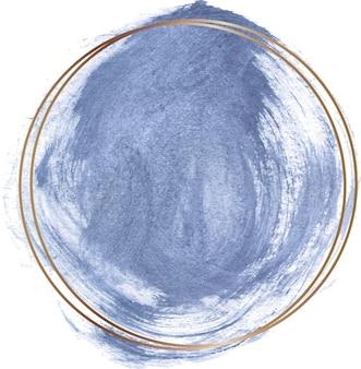 Blauwe aquarel vorm met gouden lijn frame