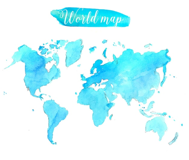 Blauwe aquarel wereldkaart. vector artistieke illustratie.