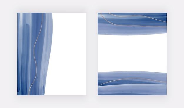Blauwe aquarelachtergronden voor uitnodigingen voor kaartenbanners