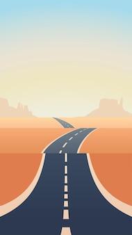 Blauwe asfalt lange weg door zandwoestijn