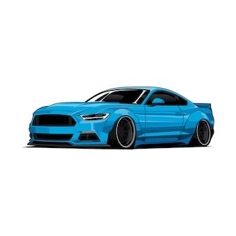 Blauwe auto illustratie