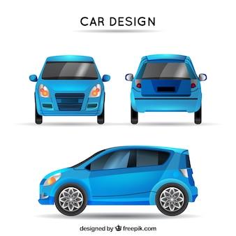 Blauwe auto in verschillende uitzichten