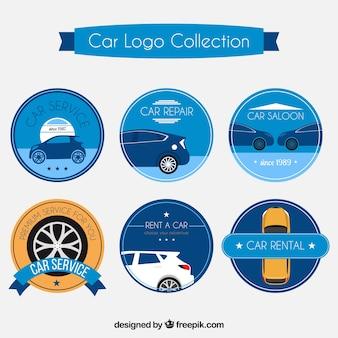Blauwe auto logo collectie