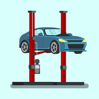 Blauwe auto opgetild bij het benzinestation. vector.
