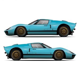 Blauwe auto zijaanzicht